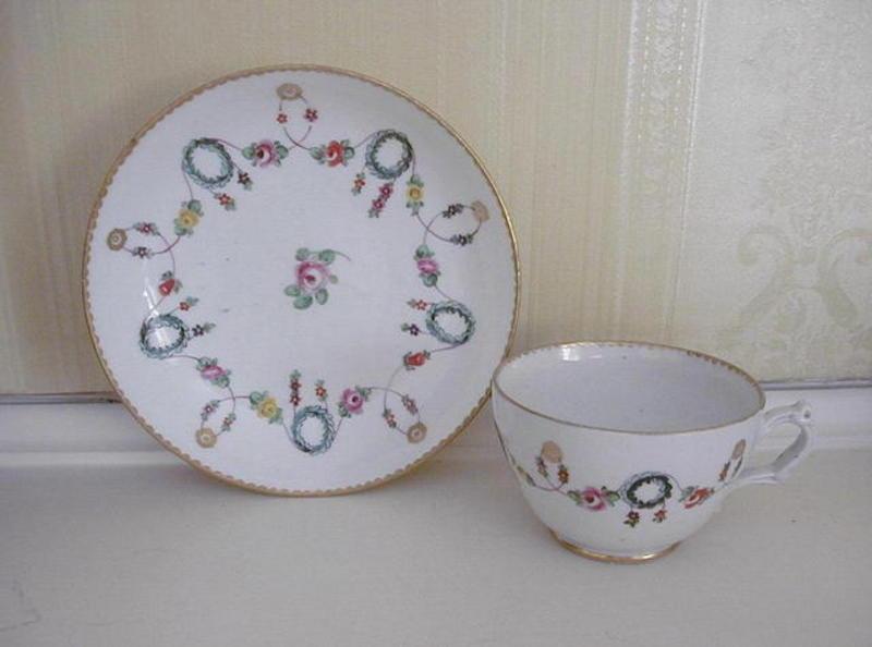 Richard Champion Bristol Porcelain Cup & Saucer c. 1775