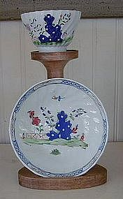 English Lowestoft Tea Bowl and Saucer, c. 1775-90