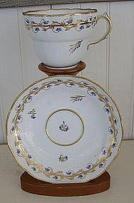 English Derby Porcelain Chocolate Cup & Saucer, c. 1795