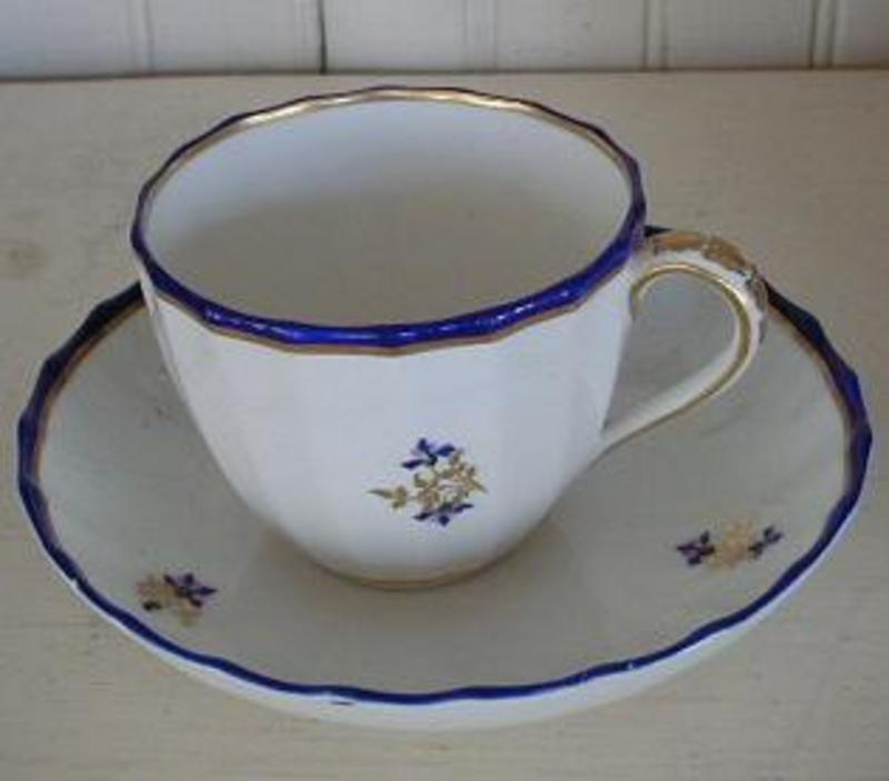 English Derby Porcelain Fluted Cup and Saucer, c. 1785