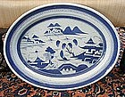 Chinese Export Blue & White Canton Platter, c. 1830