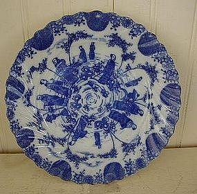 Japanese Blue & White Transfer Swirl Rim Plate, c. 1920