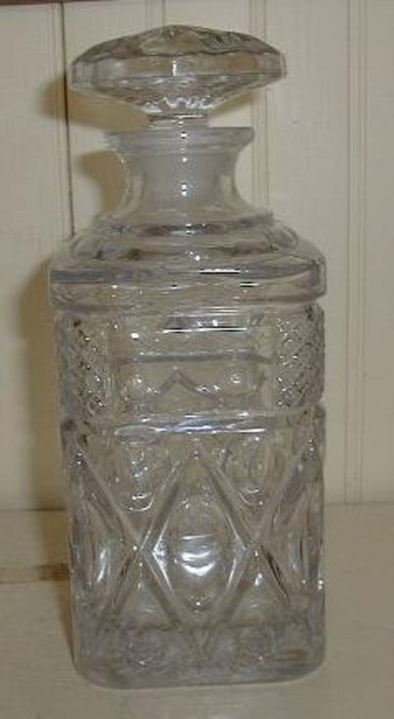 Early American Pattern Glass Square Decanter, c. 1890