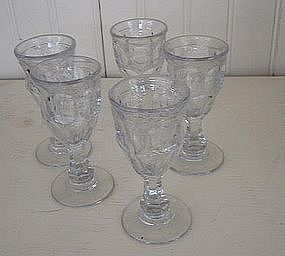 Set of 5 American Pressed Glass Liquors, c. 1840
