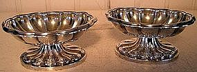 Pair Early New York City Footed Silver Salt Dishes 1840