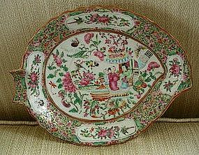 Chinese Export Porcelain Famille Rose Leaf Dish c. 1840