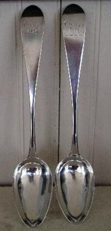 Pair Early Federal Philadelphia Silver Serving Spoons
