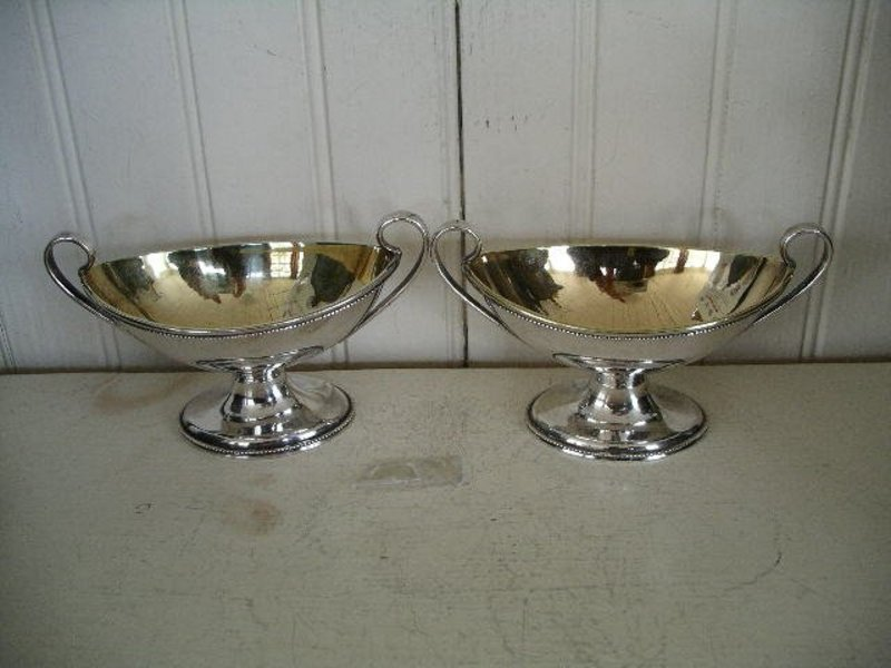 Pair Early Philadelphia Silver Footed Salt Dishes 1855