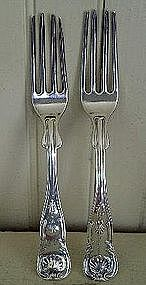 Pair Early American Silver Dinner Forks, Wilson 1825-50