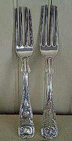Pair Early American Silver Dinner Forks, Wilson 1825-50