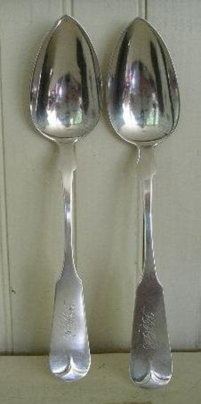 Pair of Early Providence, RI Silver Serving Spoons 1814