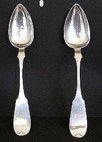 Pair Early Philadelphia Silver Serving Spoons, 1823-50