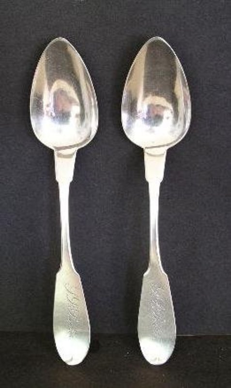 Pair Early East Hartford, Conn. Silver Tablespoons 1825