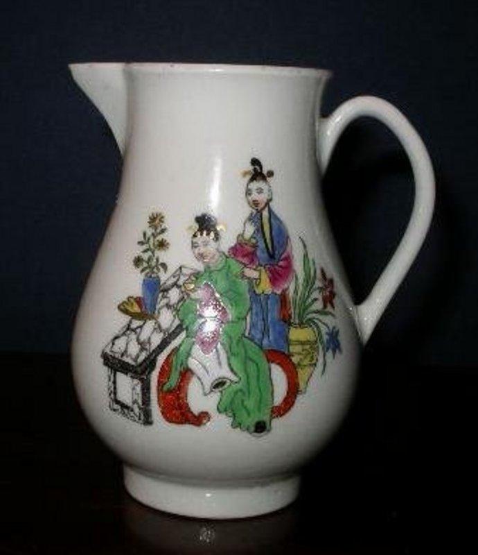English Worcester Porcelain Sparrow Beak Pitcher, 1765