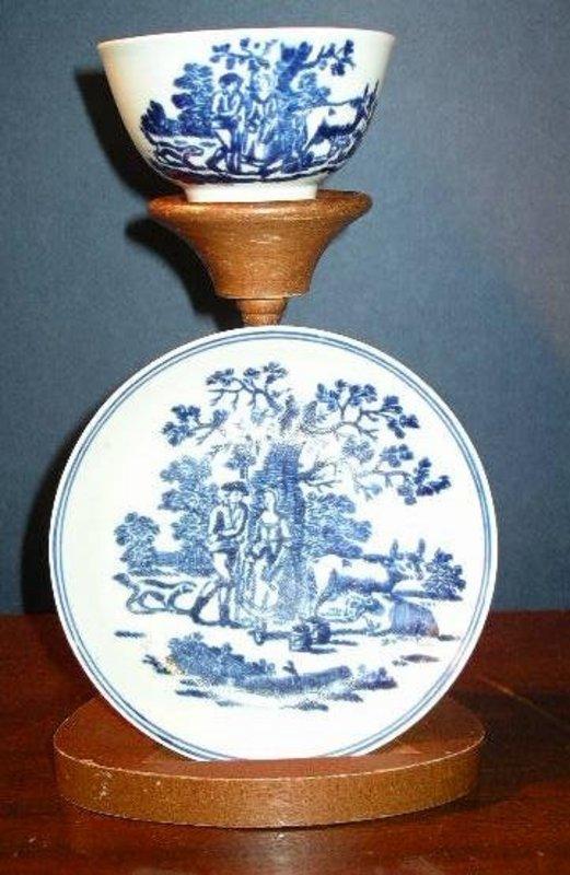 English Blue & White Liverpool Tea Bowl & Saucer, 1780