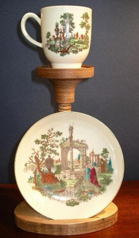 English Worcester Porcelain Cup & Saucer, c. 1768