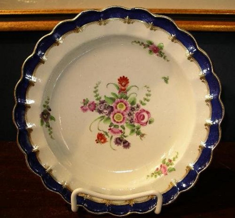 English Worcester Porcelain Plate, c. 1770