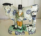 English Yorkshire Pearlware Figure Group of Cow, 1770