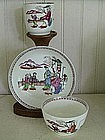 English New Hall Porcelain Trio, c. 1790