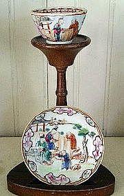 Pair Chinese Export Porcelain Tea Bowls & Saucers 1770