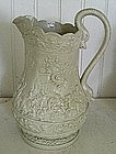 English Stoneware Relief Molded Pitcher, c. 1820