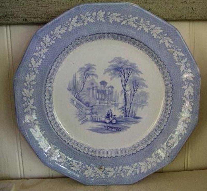 English Staffordshire Blue & White Transfer Plate 1845