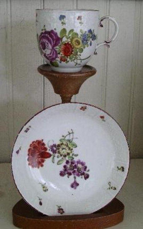 German Ludwigsburg Porcelain Tea Cup and Saucer, 1760