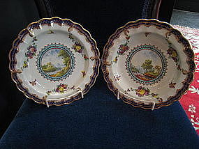 Pair of English Worcester Porcelain Plates, c. 1781-85