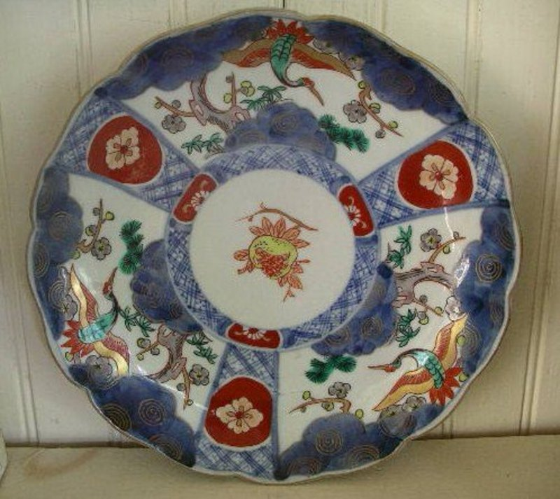 Japanese Imari Porcelain Scalloped Rim Plate, c. 1870