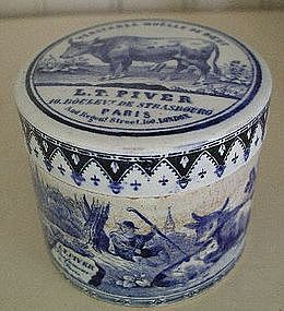 French Pottery Beef Pate Blue&White Pot&Pot Lid, c.1840