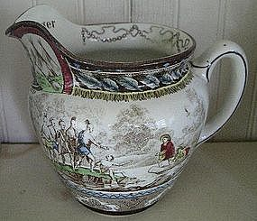 American Historical Buffalo Pottery Hand Decorated Jug
