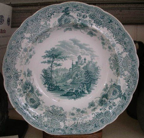 English Green & White Staffordshire Soup Bowl, c. 1820
