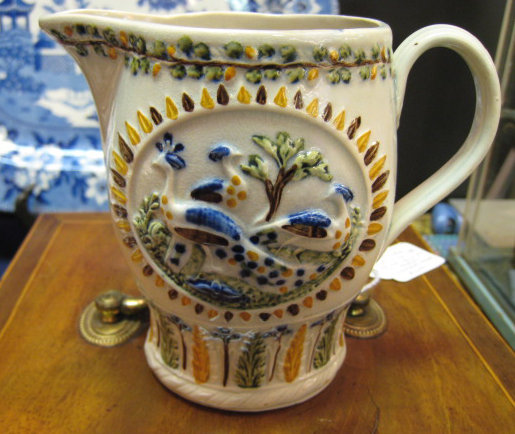 English Prattware Peacock Creamer, c. 1790