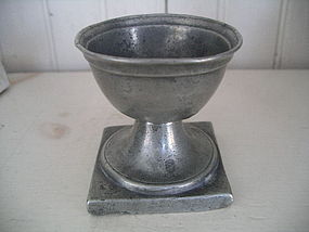 Colonial American Pewter Footed Salt