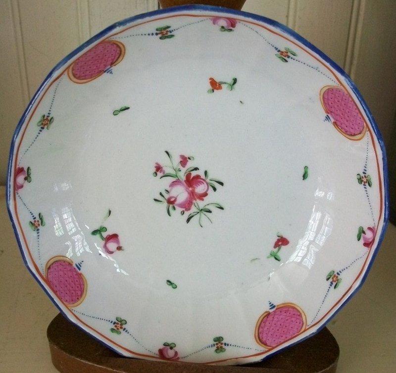 English Minton Porcelain Deep Saucer Dish, c. 1795