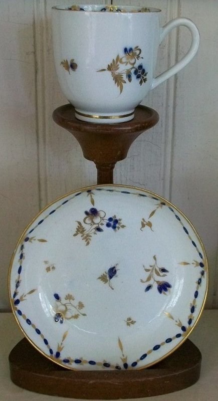 English Caughley Tea Cup and Saucer, c. 1780