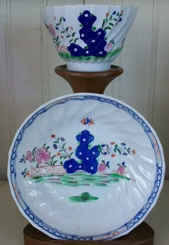 English Porcelain Waisted Tea Bowl & Saucer, c. 1795