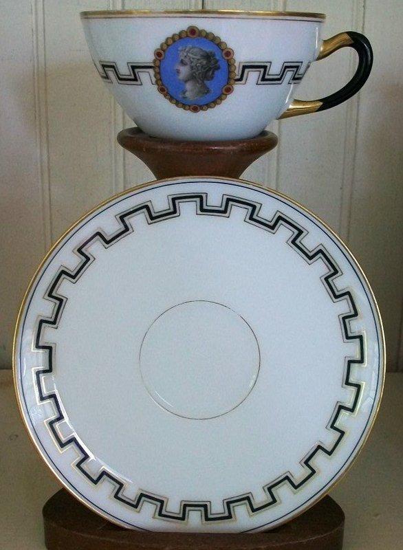 Old Paris Porcelain Medallion Cup & Saucer, c. 1840