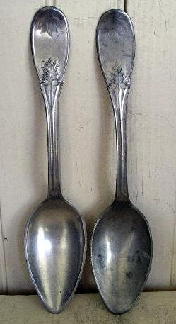 Pair of American Pewter Tablespoons, c. 1870