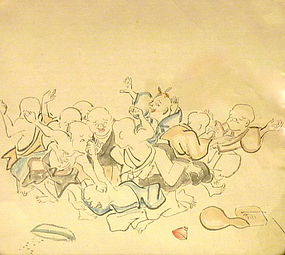 JAPANESE DRAWING OF BLIND BOYS