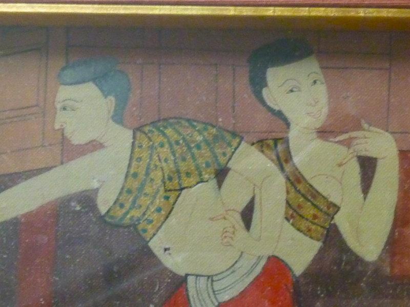 THAI 19TH CENTURY PAINTING ON CLOTH. FRAMED