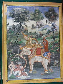 THAI 19TH CENTURY PAINTING ON CLOTH. FRAMED