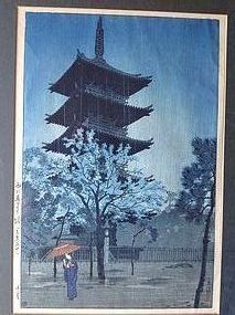 JAPANESE WOODBLOCK SHIRO KASAMATSU 1932