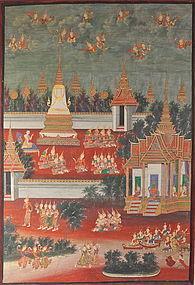 THAI LARGE PAINTED PANEL 19TH CENTURY