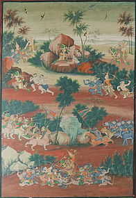 THAI LARGE PAINTED PANEL 19TH CENTURY