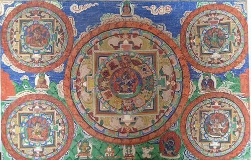 TIBETAN THANG-KA 5 MANDALAS
