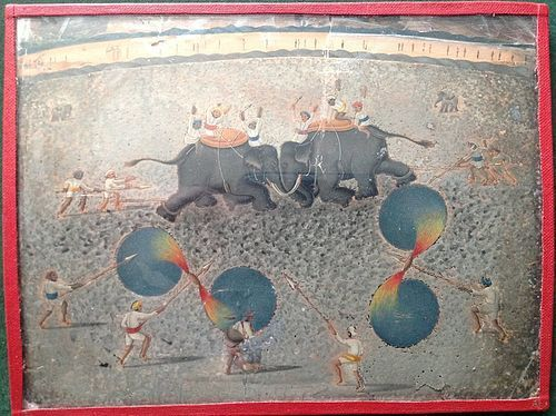 INDIAN ELEPHANT FIGHT AT DILHEE PAINTING