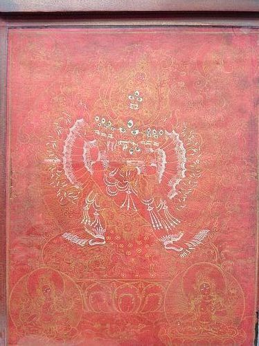 MONGOLIAN RED GROUND 19thc.PAINTING