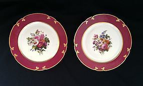 Pair of Paris porcelain plates, ED. Honore c.1850