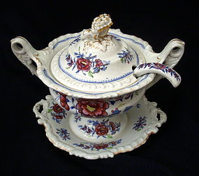 Ridgway Stone China sauce tureen and spoon 1820s.